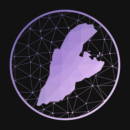 Kastellorizo icon. Vector polygonal map of the island. Kastellorizo icon in geometric style. The island map with purple low poly gradient on dark background.