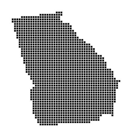 Georgia map. Map of Georgia in dotted style. Borders of the us state filled with rectangles for your design. Vector illustration.