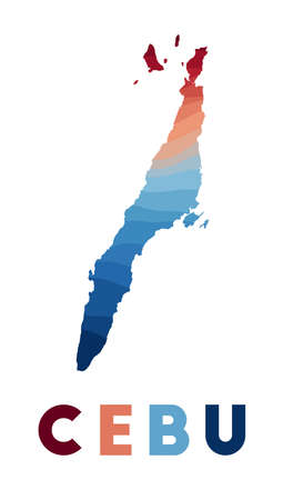 Cebu map. Map of the island with beautiful geometric waves in red blue colors. Vivid Cebu shape. Vector illustration.