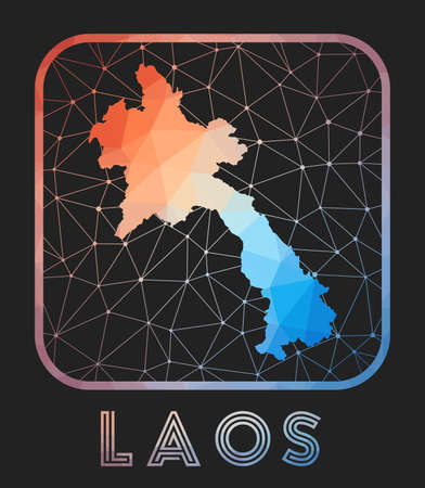 Laos map design. Vector low poly map of the country. Laos icon in geometric style. The country shape with polygnal gradient and mesh on dark background. Illusztráció