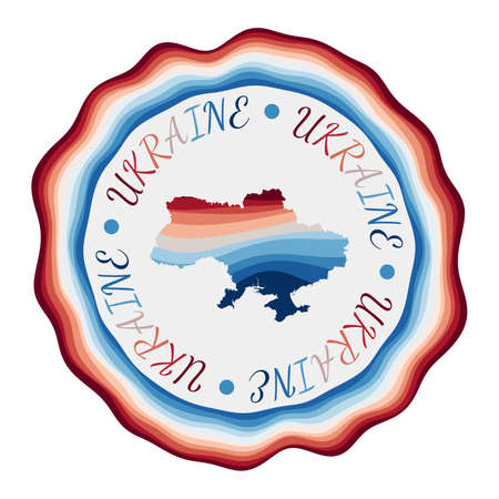 Ukraine badge. Map of the country with beautiful geometric waves and vibrant red blue frame. Vivid round Ukraine logo. Vector illustration.