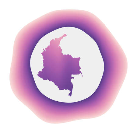 Colombia icon. Colorful gradient logo of the country. Purple red Colombia rounded sign with map for your design. Vector illustration. Illusztráció