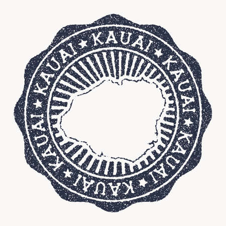 Kauai stamp. Travel rubber stamp with the name and map of island, vector illustration. Can be used as insignia, logotype, label, sticker or badge of the Kauai.