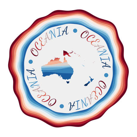 Oceania badge. Map of the continent with beautiful geometric waves and vibrant red blue frame. Vivid round Oceania logo. Vector illustration.