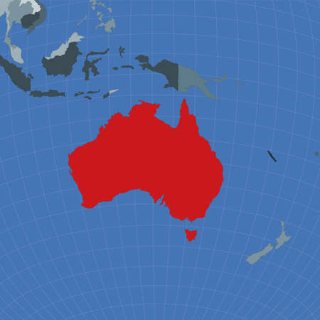 Shape of the Australia in context of neighbour countries. Country highlighted with red color on world map. Australia map template. Vector illustration.