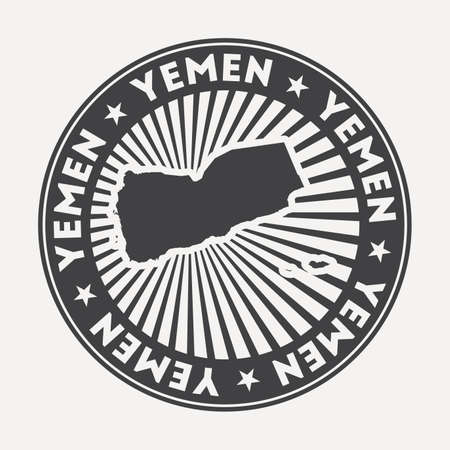 Yemen round logo. Vintage travel badge with the circular name and map of country, vector illustration. Can be used as insignia, logotype, label, sticker or badge of the Yemen. Illusztráció