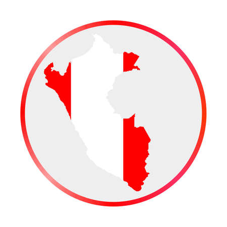 Peru icon. Shape of the country with Peru flag. Round sign with flag colors gradient ring. Classy vector illustration. Illusztráció