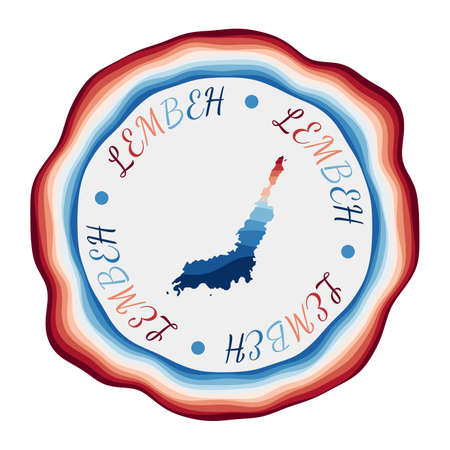 Lembeh badge. Map of the island with beautiful geometric waves and vibrant red blue frame. Vivid round Lembeh logo. Vector illustration.