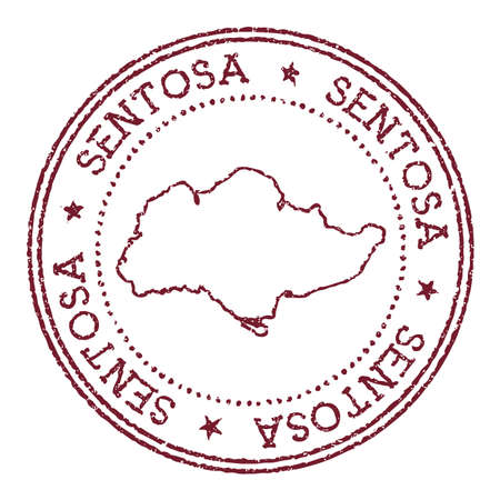 Sentosa round rubber stamp with island map. Vintage red passport stamp with circular text and stars, vector illustration.