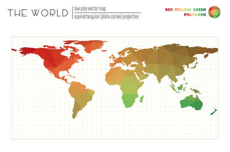 World map with vibrant triangles. Equirectangular (plate carree) projection of the world. Red Yellow Green colored polygons. Contemporary vector illustration. Illusztráció