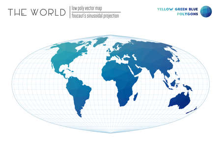 World map in polygonal style. Foucaut's sinusoidal projection of the world. Yellow Green Blue colored polygons. Contemporary vector illustration.