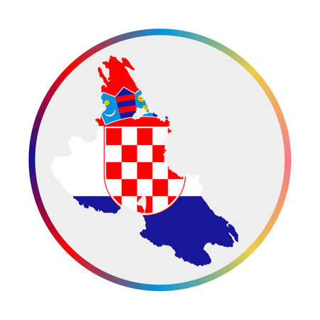 Krk icon. Shape of the island with Krk flag. Round sign with flag colors gradient ring. Attractive vector illustration.