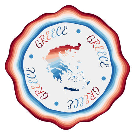 Greece badge. Map of the country with beautiful geometric waves and vibrant red blue frame. Vivid round Greece . Vector illustration.