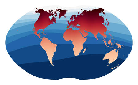 World Map Vector. Ginzburg IV projection. World in red orange gradient on deep blue ocean waves. Elegant vector illustration.