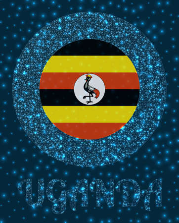 Round Uganda badge. Flag of Uganda in glowing network mesh style. Country network . Artistic vector illustration.