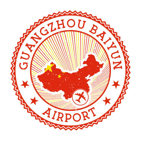 Guangzhou Baiyun Airport stamp. Airport vector illustration. Guangzhou aeroport with country flag.