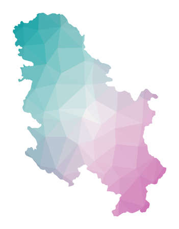 Polygonal map of Serbia. Geometric illustration of the country in emerald amethyst colors. Serbia map in low poly style. Technology, internet, network concept. Vector illustration.