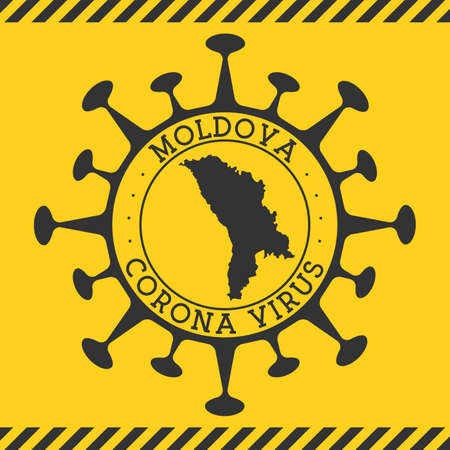 Corona virus in Moldova sign. Round badge with shape of virus and Moldova map. Yellow country epidemy lock down stamp. Vector illustration. Vektorové ilustrace