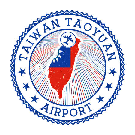 Taiwan Taoyuan Airport stamp. Airport vector illustration. Taipei aeroport with country flag.