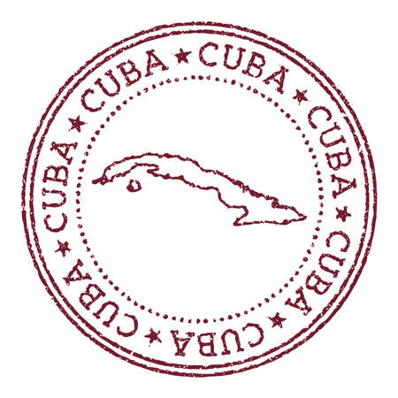 Cuba round rubber stamp with country map. Vintage red passport stamp with circular text and stars, vector illustration.
