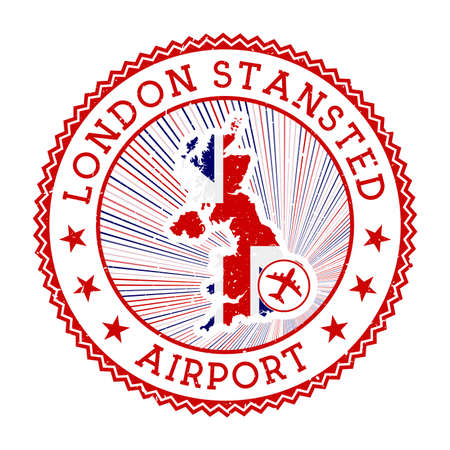 London Stansted Airport stamp. Airport logo vector illustration. London aeroport with country flag. Logo