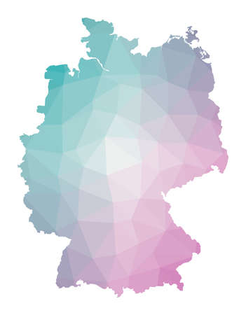 Polygonal map of Germany. Geometric illustration of the country in emerald amethyst colors. Germany map in low poly style. Technology, internet, network concept. Vector illustration.