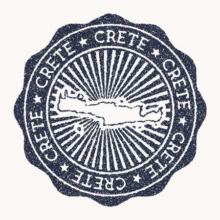 Crete stamp. Travel rubber stamp with the name and map of island, vector illustration. Can be used as insignia, logotype, label, sticker or badge of the Crete.
