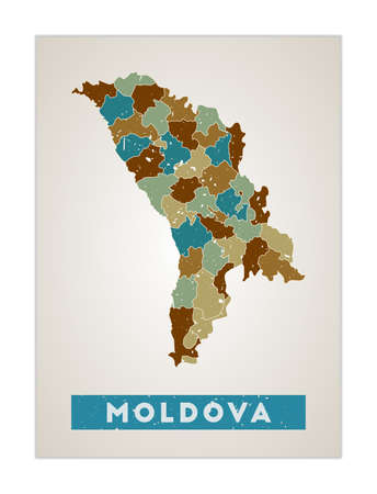 Moldova map. Country poster with regions. Old grunge texture. Shape of Moldova with country name. Neat vector illustration. Vektorové ilustrace