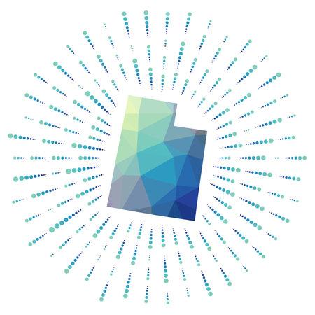 Shape of Utah, polygonal sunburst. Map of the us state with colorful star rays. Utah illustration in digital, technology, internet, network style. Vector illustration.