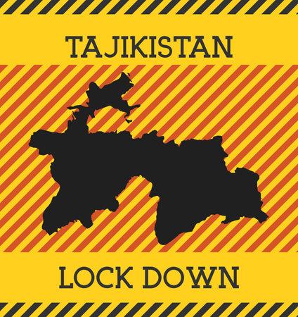 Tajikistan Lock Down Sign. Yellow country pandemic danger icon. Vector illustration.