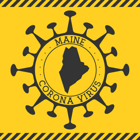 Corona virus in Maine sign. Round badge with shape of virus and Maine map. Yellow us state epidemy lock down stamp. Vector illustration. 写真素材 - 162249916