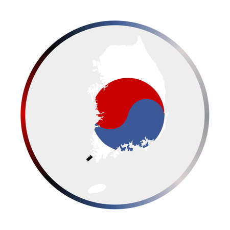 South Korea icon. Shape of the country with South Korea flag. Round sign with flag colors gradient ring. Trendy vector illustration.