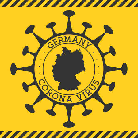Corona virus in Germany sign. Round badge with shape of virus and Germany map. Yellow country epidemy lock down stamp. Vector illustration.
