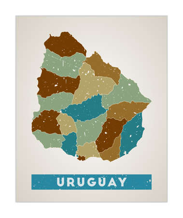 Uruguay map. Country poster with regions. Old grunge texture. Shape of Uruguay with country name. Creative vector illustration.