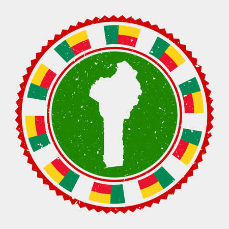 Benin grunge stamp. Round logo with map and flag of Benin. Country stamp. Vector illustration. 矢量图像