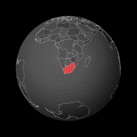 Dark globe centered to South Africa. Country highlighted with red color on world map. Satellite world projection. Stylish vector illustration.