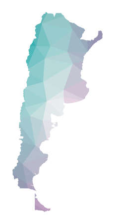 Polygonal map of Argentina. Geometric illustration of the country in emerald amethyst colors. Argentina map in low poly style. Technology, internet, network concept. Vector illustration.