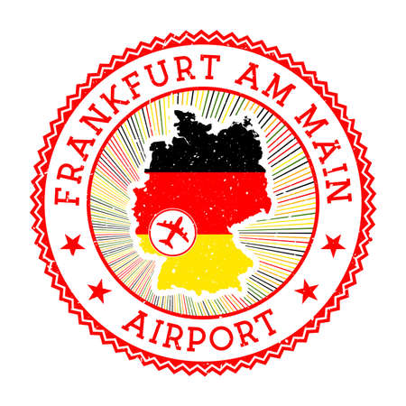 Frankfurt am Main Airport stamp. Airport logo vector illustration. Frankfurt-am-Main aeroport with country flag.