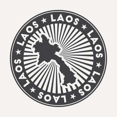 Laos round logo. Vintage travel badge with the circular name and map of country, vector illustration. Can be used as insignia, logotype, label, sticker or badge of the Laos.