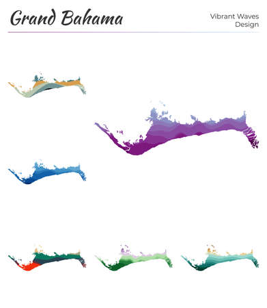 Set of vector maps of Grand Bahama. Vibrant waves design. Bright map of island in geometric smooth curves style. Multicolored Grand Bahama map for your design. Artistic vector illustration.