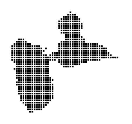 Basse-Terre Island map. Map of Basse-Terre Island in dotted style. Borders of the area filled with rectangles for your design. Vector illustration.