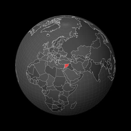 Dark globe centered to Syria. Country highlighted with red color on world map. Satellite world projection. Superb vector illustration.