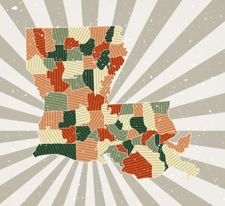 Louisiana vintage map. Grunge poster with map of the us state in retro color palette. Shape of Louisiana with sunburst rays background. Vector illustration.