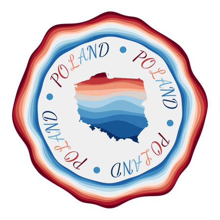 Poland badge. Map of the country with beautiful geometric waves and vibrant red blue frame. Vivid round Poland logo. Vector illustration. Logó