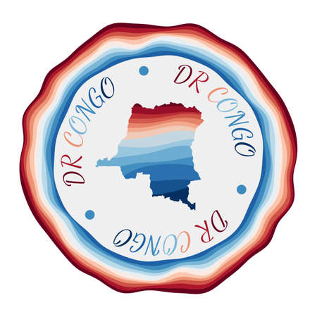 DR Congo badge. Map of the country with beautiful geometric waves and vibrant red blue frame. Vivid round DR Congo logo. Vector illustration.