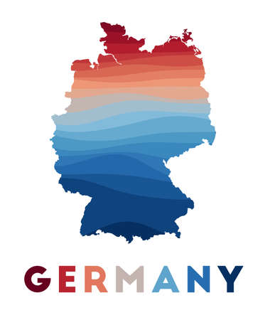Germany map. Map of the country with beautiful geometric waves in red blue colors. Vivid Germany shape. Vector illustration.