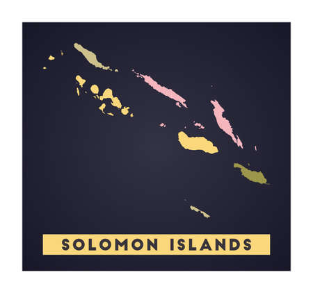Solomon Islands map. Country poster with regions. Shape of Solomon Islands with country name. Elegant vector illustration.