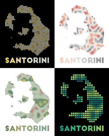 Santorini map. Collection of map of Santorini in dotted style. Borders of the island filled with rectangles for your design. Vector illustration.