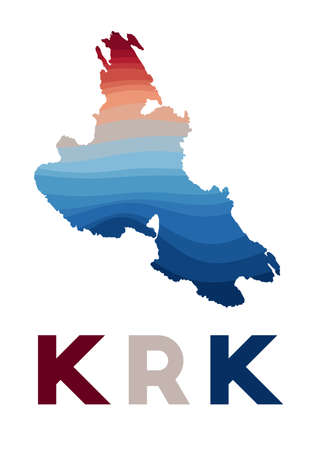 Krk map. Map of the island with beautiful geometric waves in red blue colors. Vivid Krk shape. Vector illustration. Vektoros illusztráció