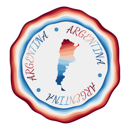 Argentina badge. Map of the country with beautiful geometric waves and vibrant red blue frame. Vivid round Argentina logo. Vector illustration.
